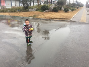 """Imma walk through this puddle. K? K."" *Drags feet at running speed through the puddle"
